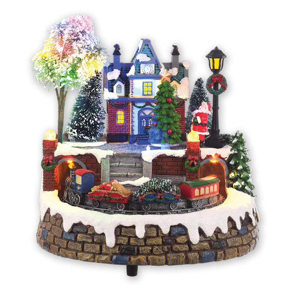 The Christmas Workshop Battery Operated Polyresin Animated Musical LED Village Scene with Moving Train and 8 Christmas Tunes, Resin, Multi-Colour