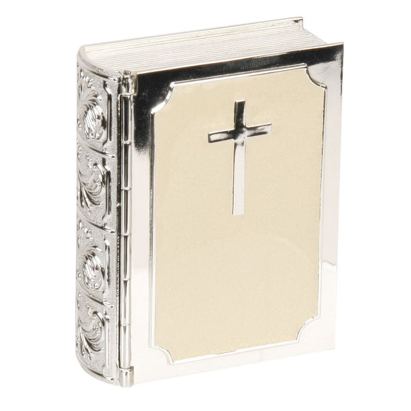 Bible Silverplated & Cream Epoxy Trinket Keepsake Box CG225 Christening Confirmation 1st Communion
