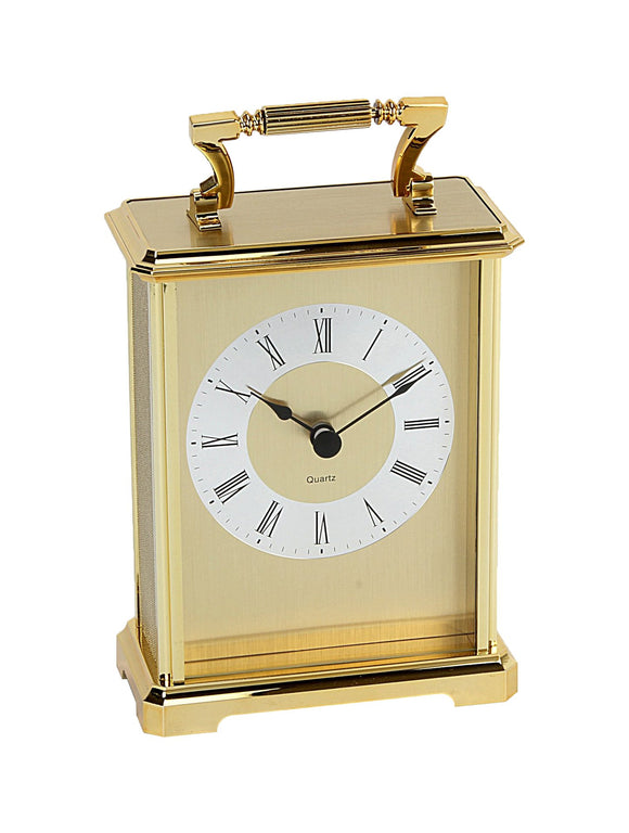Wm. Widdop Gilt Design Roman Numerals Carriage Clock, Gold