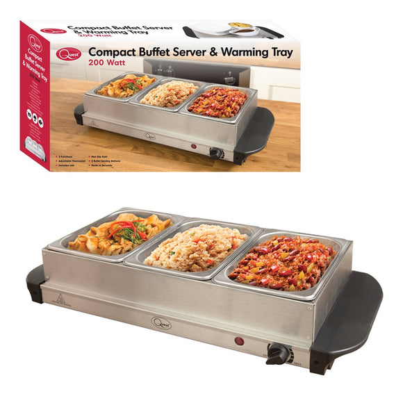 Compact Triple Buffet Server and Warming Tray,