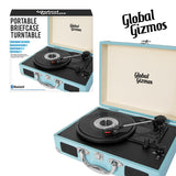 Global Gizmos 40400 Portable Bluetooth Retro Suitcase Turntable with Built In Speakers and MP3 Transfer - Blue