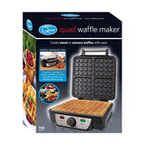 Quest 35940 Quad Belgian Maker Compact Design Non-Stick Coating Automatic Temperature Control Cooks 4 Waffles, 1100W, 1100 W, Black/Silver