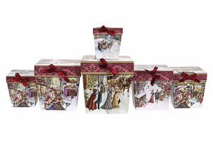 Festive Snowy village scene design red square gift boxes