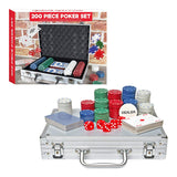 Global Gizmos Poker set ~ Chips, Dice, Cards ~ Aluminium Case ~ Game, Fun, Gamble ~ 50520