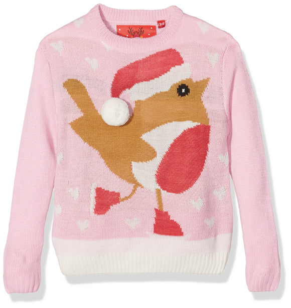 The Christmas Workshop Girl's Robin Long Sleeve Jumper, Pink, 7-8 Years