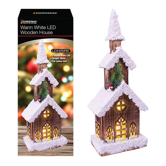 Battery Operated Warm White LED Snow Topped 3 Teir 46cm Wooden Cabin House