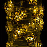 Christmas Workshop Battery Operated 20 Micro Warm White LED Golden Metal Star String Lights, Metal, Gold,