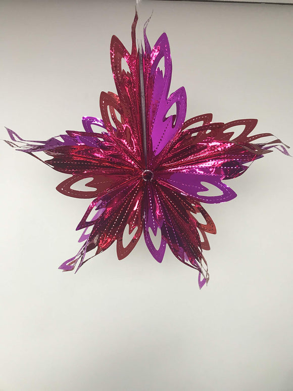 HARTES 30cm Christmas Foil Star (RED & PURPLE)