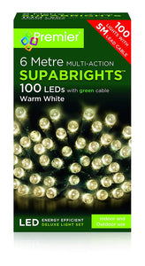 LED Supabright Light Decorations - Indoor & Outdoor - 100 LEDs - Warm White
