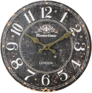HomeTime Whitton Wall Clock - Brown