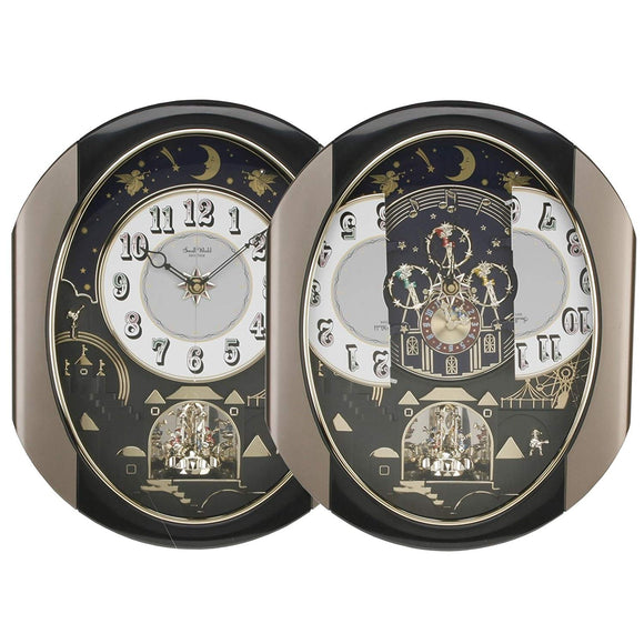 Black Novelty Rhythm Small World Magic Motion Wall Clock-4mh751wd18