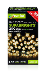 200 LED Warm White Supabright Tree Lights with Green Cable