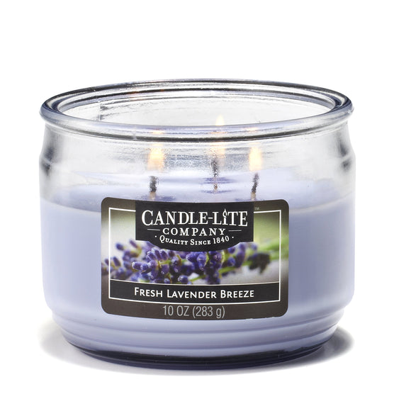 Candlelite Essentials 3-Wick 10-Ounce Terrace Jar Candle, Fresh Lavender Breeze