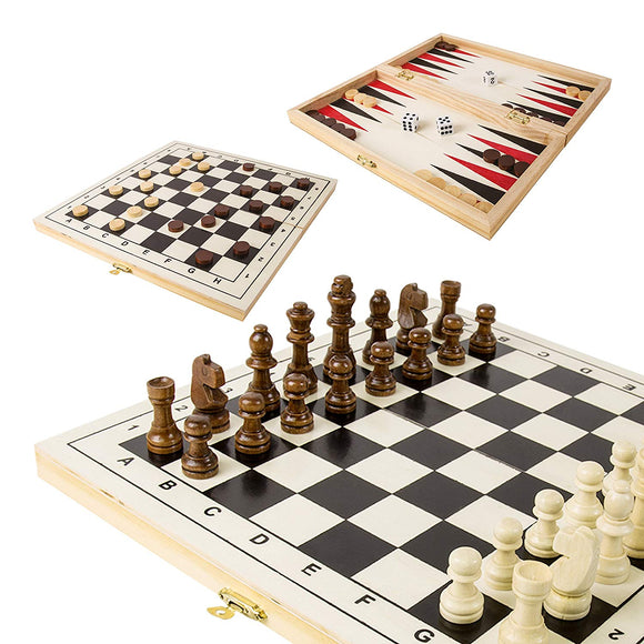 Triple Wooden Games Compendium Set Including Chess, Backgammon, Draughts Checkers