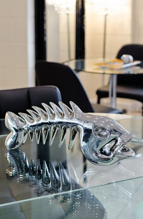 Ceramic Skeletal Fish Sculpture
