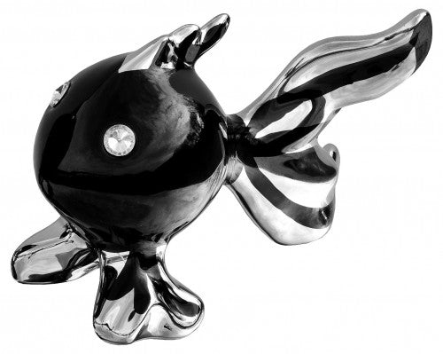 Ceramic Puffa Fish in Small - Black & Silver
