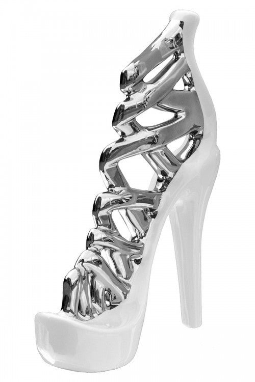 Ceramic White & Silver Stiletto Shoe Small