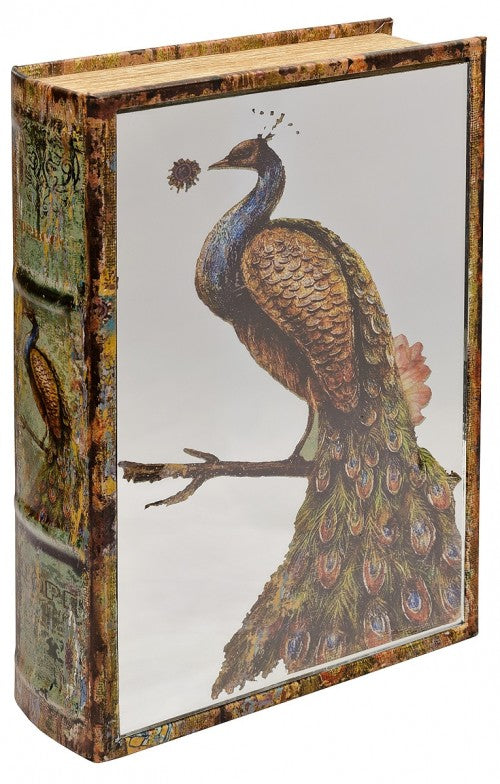 Mirrored Peacock Storage Book Box