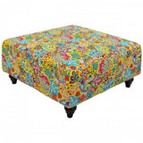 Yellow Paisley Fabric Square Ottoman Footstool