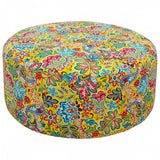 Yellow Paisley Round Fabric Pouffe