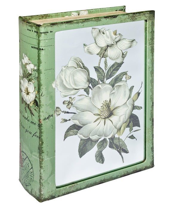 White Flowers Mirrored Book Box