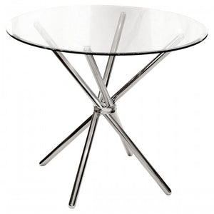 Criss - Cross 90cm Diameter Glass Dining Table
