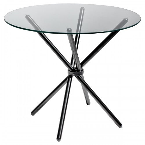 Criss Cross 90cm Round Glass Dining Table - Black