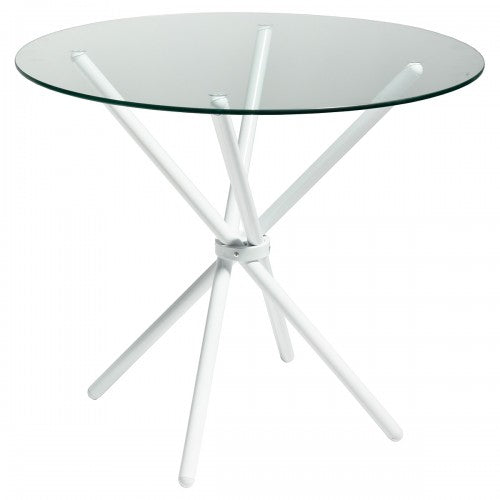 Criss Cross 90cm Round Glass Dining Table - White