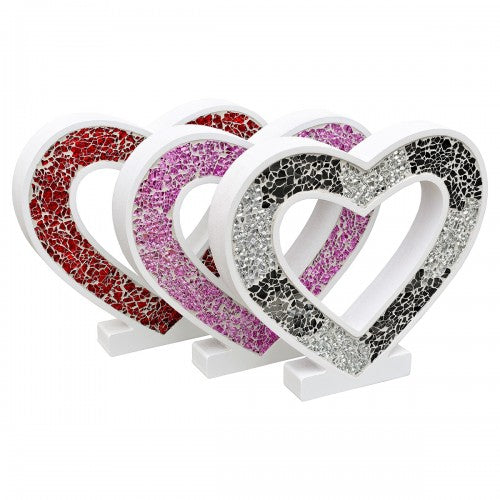 Mosaic Glass Standing Heart Decoration