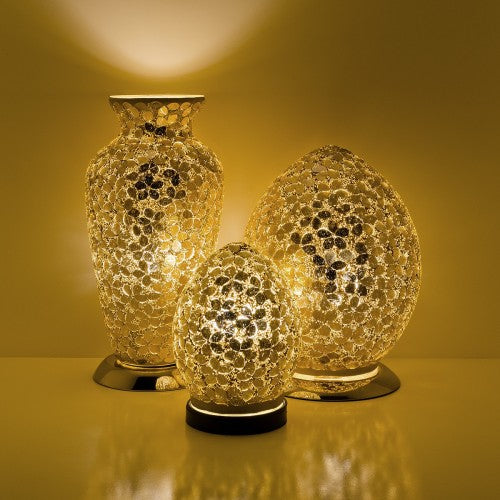 Gold Distressed Flower Mosaic Tile Lighting