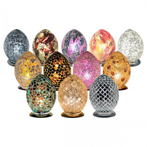 Medium Mosaic Glass Egg Lamp