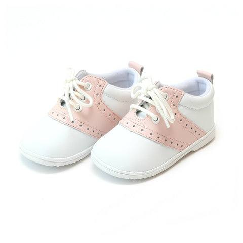 Addie Leather Saddle Oxford (Baby) - White/Pink, Angel by L'Amour