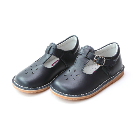 Joy Classic Leather Stitch Down T-Strap Mary Jane - Navy