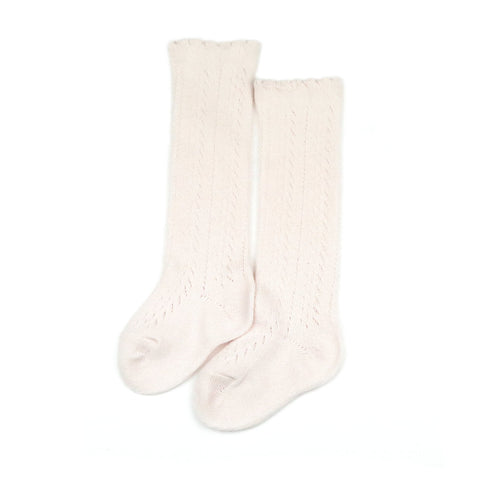 L'Amour Cotton Crochet Knee High Socks, Powder Pink