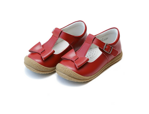 Emma Bow T-Strap Mary Janes, Red - L'Amour