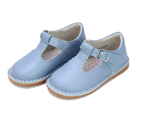 Selina Scalloped T-Strap Mary Jane, Dusty Blue