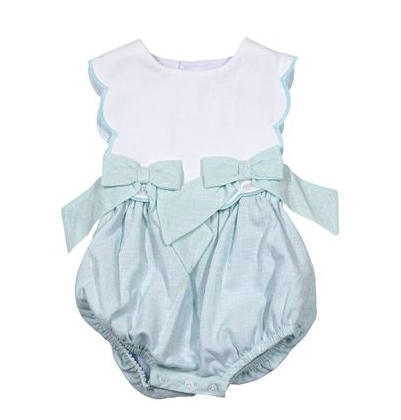 Mint Sherbet Scallop Bubble with Bows - Sophie & Lucas