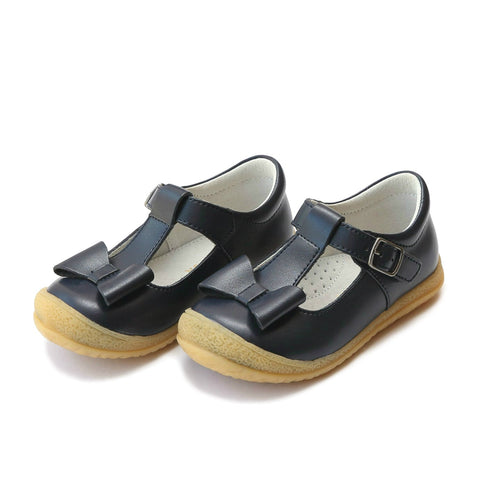 Emma Bow T-Strap Mary Janes, Navy - L'Amour