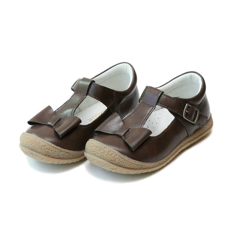 Emma Bow T-Strap Mary Janes, Brown - L'Amour