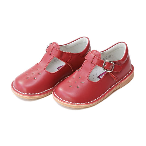 Joy Classic Leather Stitch Down T-Strap Mary Jane - Red