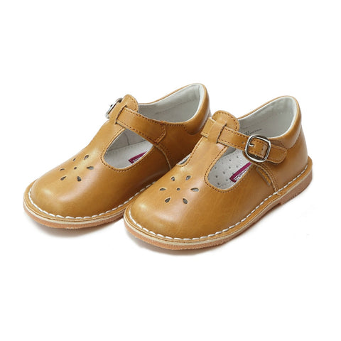 Joy Classic Leather Stitch Down T-Strap Mary Jane - Spicy Mustard