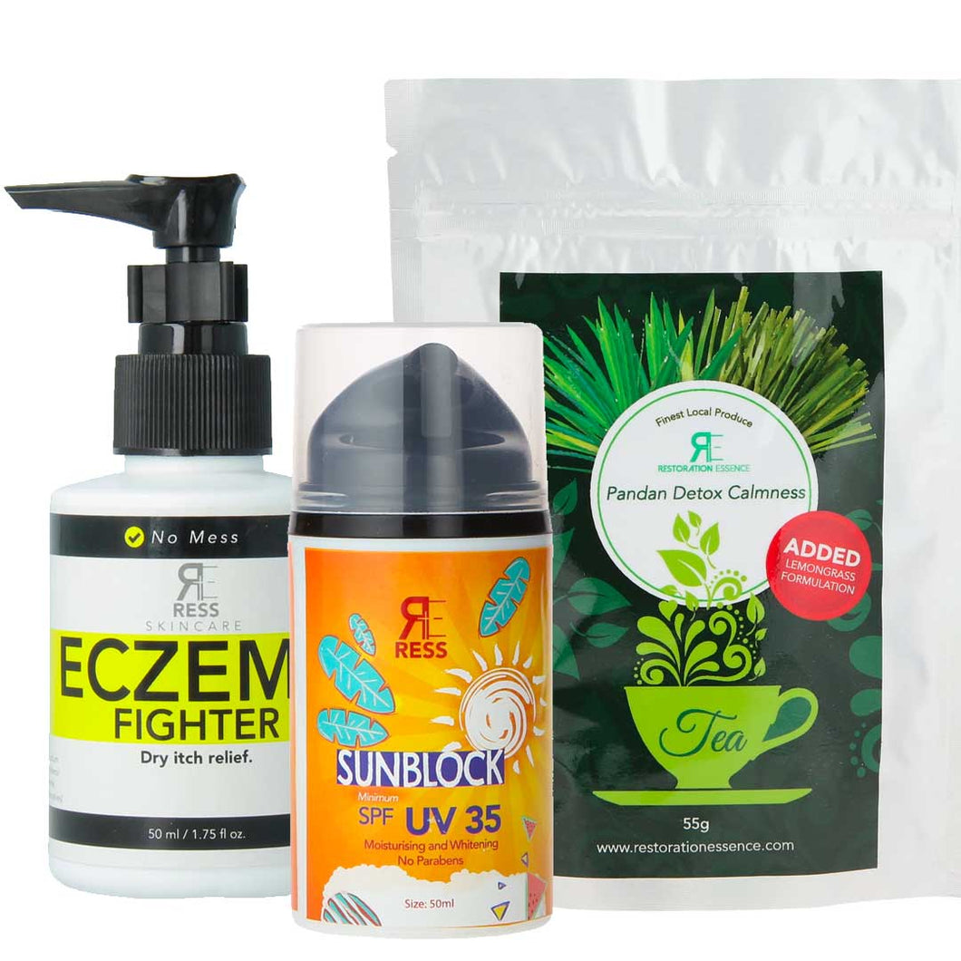 Haze Rescue Pack - Moisturizing Protection, Sunblock and Detox Tea