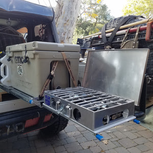 "16"" X 28"" ALUMINUM Overland Fridge Slide w/cutting board"