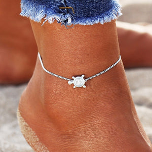 """Simple Turtle"" Silver Anklet"