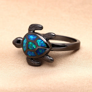 """Opal Turtle"" Black Ring"