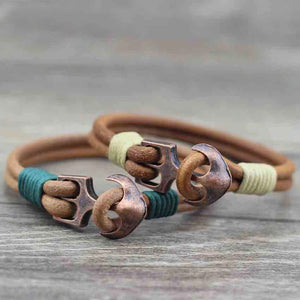 """Copper Anchor"" Unisex Leather Bracelet"