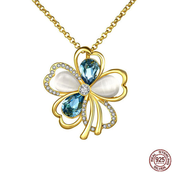 Flower Collection - Collier en Argent 925 avec Opales Naturelles