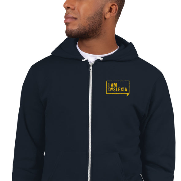 Zipper Hoodie, Yellow I Am Dyslexia Embroidered Logo