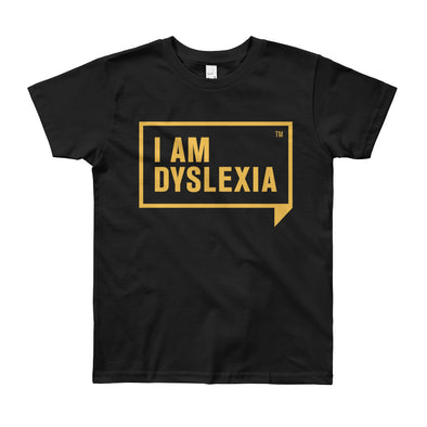 I Am Dyslexia Youth Yellow Logo T-Shirt (8-12 Years)