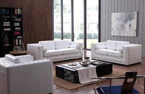 Raegan Modern White Leather Sofa Set